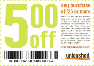5 Off 25 At Petco And Petco Unleashed Coupon Boston